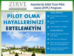 Amerika`da EASA Ticari Pilot Lisans (ATPL)