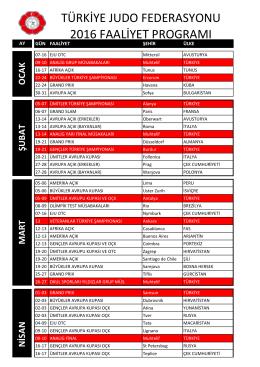 türkiye judo federasyonu 2016 faaliyet programı