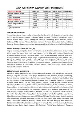 2015 yılına ait Avea Yurtdışı Hat Kullanım Ücretleri
