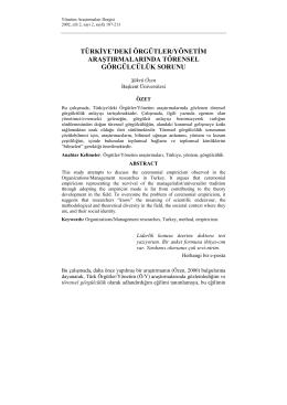 türkiye`deki örgütler/yönetim araştırmalarında törensel