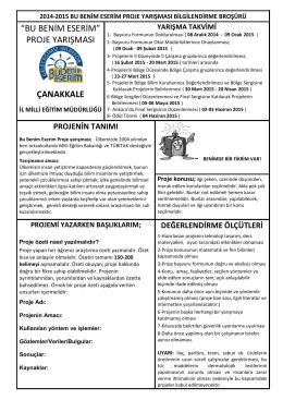Broşür - Çanakkale İl Milli Eğitim Müdürlüğü