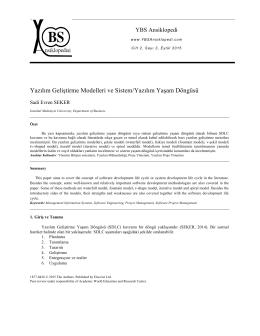 Yazılım Geliştirme Modelleri ve Sistem/Yazılım Yaşam Döngüsü