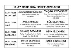 EZGİ ECZANESİ 11-17 OCAK 2016 NÖBET ÇİZELGESİ YAŞAM