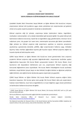 T.C. ÇANAKKALE ONSEKİZ MART ÜNİVERSİTESİ SOSYAL