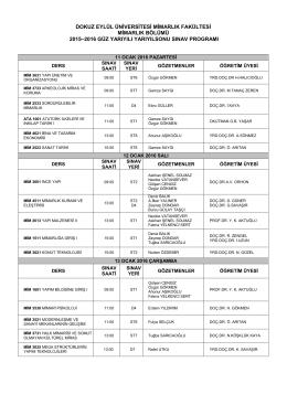 2015-2016 Güz Yarıyılı Final Sınav Program