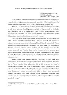 HZ.PEYGAMBER`İN NÜBÜVVET ÖNCESİ TİCARÎ SEFERLERİ Prof