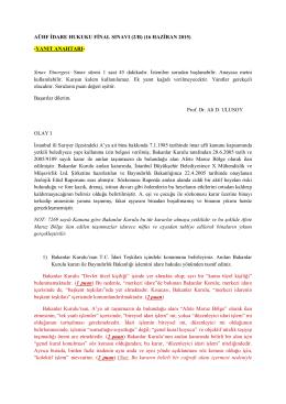 AÜHF İDARE HUKUKU FİNAL SINAVI (2/B) (16 HAZİRAN 2015