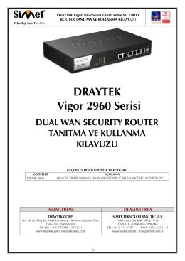 Draytek Vigor 2960 Kullanım Kılavuzu