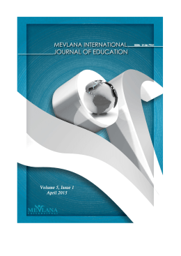 Cover Pages - Mevlana International Journal of Educational (MIJE)