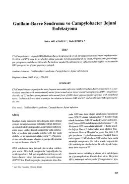 Guillain Barre Sendromu ve Campylobacter Jejuni