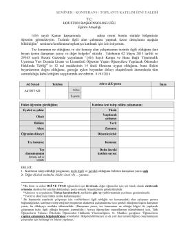 Konferans/Seminer/Toplantı Katılım İzni Talep Formu