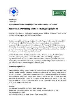 Michael Taussig, 4 Nisan 2015
