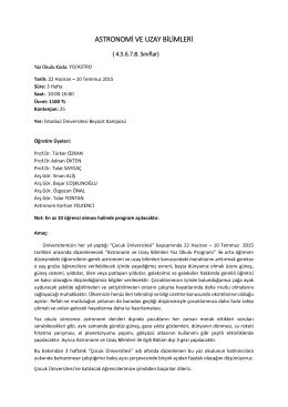 ASTRONOMİ VE UZAY BİLİMLERİ - İstanbul Üniversitesi | Çocuk