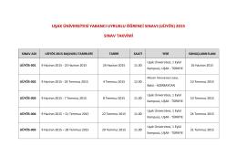 Sınav Takvimi - Uşak Üniversitesi Yabancı Uyruklu Öğrenci Ofisi