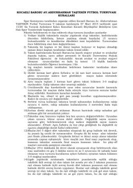 kocaeli barosu futbol turnuvası kuralları