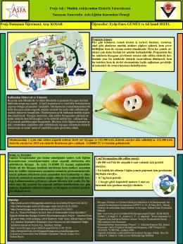 Proje Adı : Mutfak Atıklarından Elektrik Faturalarına a Yansıyan