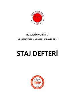Staj Defteri ve Sicil Fişleri  - Bozok Üniversitesi Mühendislik