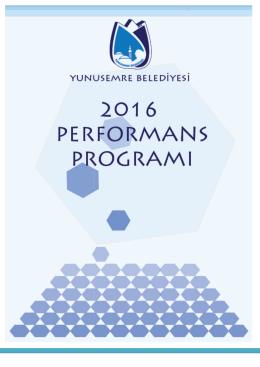yunusemre belediyesi 2016 performans pro 16 performans programı