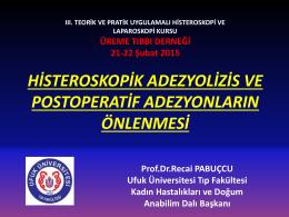 histeroskopik adezyolizis ve postoperatif adezyonların önlenmesi