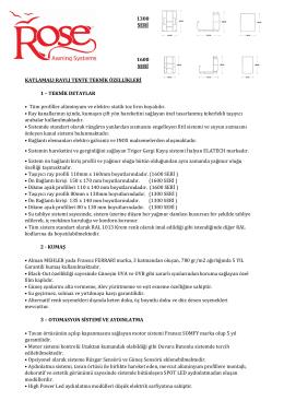 1300 SERİ 1600 SERİ • Taşıyıcı ray profili 110mm x