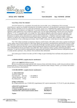 30.04.2015 2015 / 04 dokuz aylık faaliyet raporu