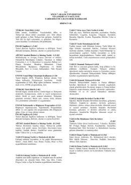 Tarih Bölümü Lisans Ders İçerikleri