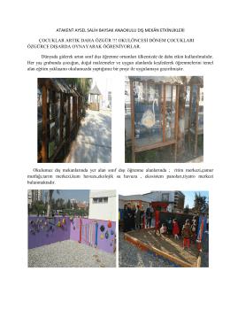atakent aysel salih baysak anaokulu dış mekân etkinlikleri çocuklar