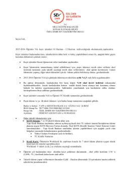 2015-2016 Ana sınıf ücretleri - Özel İzmir SEV İlköğretim Okulu
