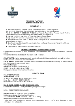 TURKCELL PLATINUM BOSPHORUS CUP 2015 EK TALİMAT 1 1