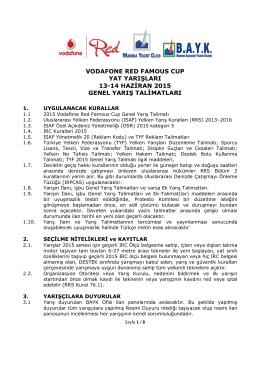 vodafone red famous cup yat yarışları 13-14 haziran 2015