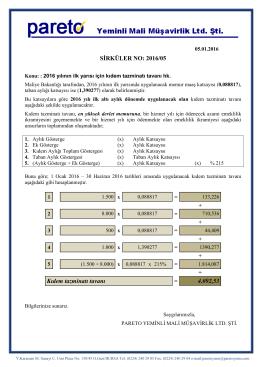 sırk-16-05 2016 yılının ilk yarısı için kıdem tazminatı