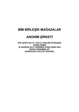 2015 2. Çeyrek Faaliyet Raporu
