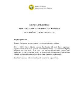 2016 ösys yeni kayıt kılavuzu - İstanbul Üniversitesi Açık ve Uzaktan