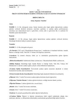 Senato Tarihi: 29/07/2015 Senato No : 12 T.C. KĠLĠS 7