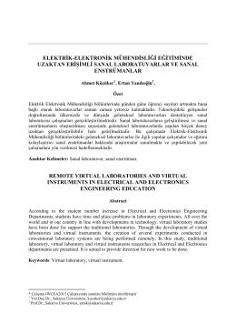 elektrik-elektronik mühendisliği eğitiminde uzaktan erişimli - E-JOIR