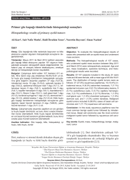 Primer göz kapağı tümörlerinde histopatoloji sonuçları