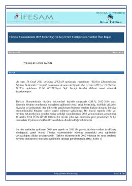 2015 Birinci Çeyrek Gayri Safi Yurtiçi Hasıla Verileri Özet Rapor