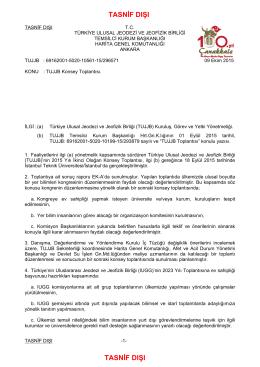 TASNİF DIŞI TASNİF DIŞI - Türkiye Ulusal Jeodezi ve Jeofizik Birliği