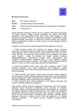 Bilgilendirme - Türkiye Bankalar Birliği