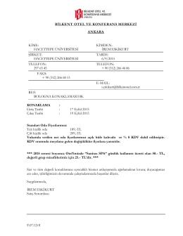 Bilkent Otel - Hacettepe Üniversitesi I.Bologna Süreci Araştırmaları
