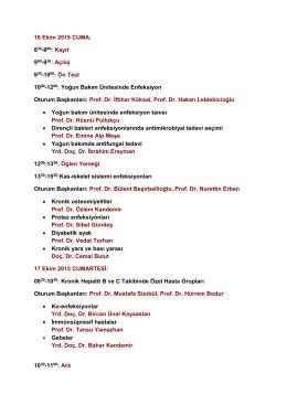 Konya Enfeksiyon Akademisi Programı İçin Tıklayınız (PDF