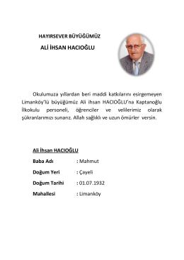 ali ihsan hacıoğlu - RİZE / ÇAYELİ