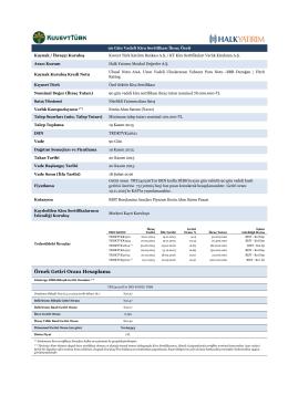 Örnek Getiri Oranı Hesaplama - kt - kira sertifikaları varlık kiralama a.ş.