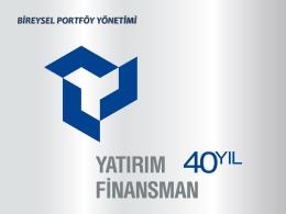 Bireysel Portföy Yönetimi Müşteri Tanıtım Sunumu