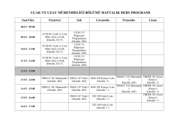 uçak ve uzay mühendisliği bölümü haftalık ders programı