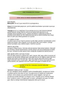 Evde Oynanacak Oyunlar - İSTANBUL KARTAL Mehmet Hilmi Altay
