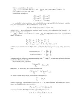 Tüketici perspektifinden iki problem Max U = U(x 1,x2) kisit M = p
