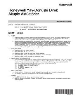 38-00029T—01 - Honeywell Yay-Dönüşlü Direk Akuple Aktüatörler