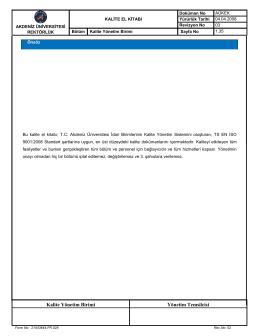 Kalite El Kitabı - Kalite Yönetim Birimi