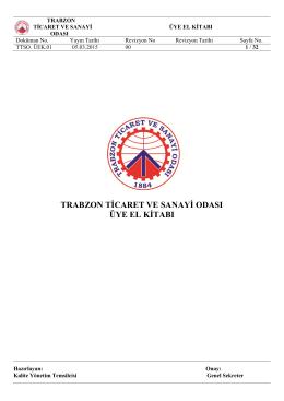 TTSO Üye El Kitabı - Trabzon Ticaret ve Sanayi Odası